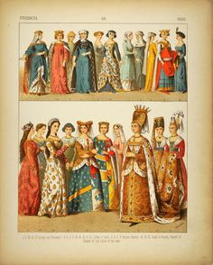 1882 Costume French Medieval Queen Ladies Princess Lady - ORIGINAL
