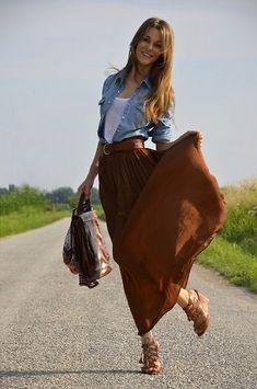 Denim shirt + maxi skirt. Love the blue denim with the camel brown.