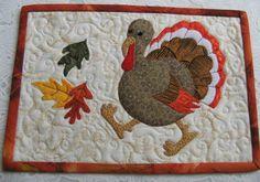 """""""Run, Turkey, Run"""" Thanksgiving Mug Rug pattern on Craftsy.com"""