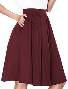 277464a83330 Janmid Women's High Waisted A Line Street Skirt Skater Pleated Full Midi  Skirt at Amazon Women's