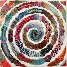 Elena Nuez Aboriginal Art, Mixed Media Art, Abstract Watercolor, Abstract Art, Watercolor Paintings, Watercolor Pattern, Watercolour, Labyrinths, Paul Gauguin
