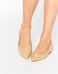Shiny Nude Pointed Ballet Flats