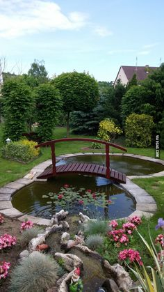 This is what my parents did with their back garden What do you guys think is part of garden Pond Bridge - More memes, funny videos and pics on Pond Landscaping, Ponds Backyard, Garden Ponds, Landscaping Design, Fish Garden, Backyard Waterfalls, Garden Water, Backyard Ideas, Pond Bridge