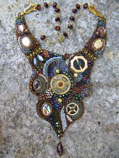 bead embroidered steampunk jewelry | Beautiful embroidered jewelry by Theresa Labriet