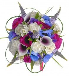 Brides Bouquet Handmade with Mixed Silk and Artificial Flowers Including Calla Lilies
