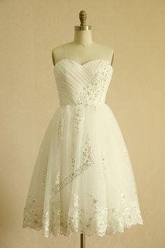 Vintage Inspired Taffeta Tulle Beaded Lace Wedding Dress Strapless Sweetheart Knee Length Short Dress on Etsy, $137.37 AUD