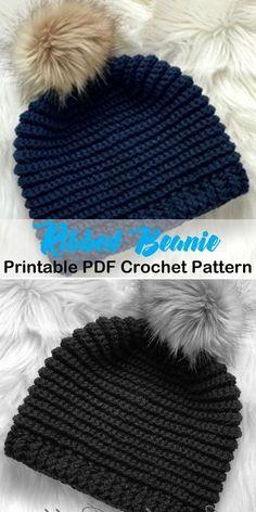 d7099b2eeb4 Make a ribbed knit look winter hat - winter hat crochet patterns - crochet  pattern pdf