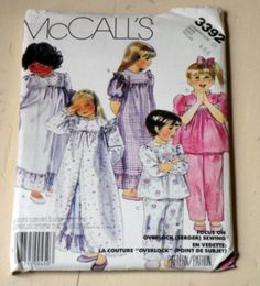 Vintage 1980's McCall's 3392 Sewing Pattern, Children's Robe, Nightgown And Pajamas, Sizes 4,5,6, Factory Folded. $5.00, via Etsy.