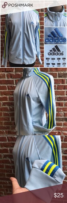 Adidas Women's Size Large Track Jacket Full Zip Preowned nice comfy fit wearable clean condition great shape for better judgment please review pics for details! adidas Jackets & Coats