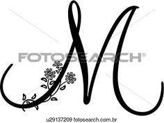 monogram, alfabeto, capital, lettered, m, script, Ampliar Gráfico Clipart