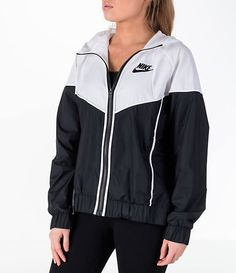 Front view of Women's Nike Sportswear Woven Windrunner Jacket in Nike Windbreaker Womens, Windbreaker Outfit, Windrunner Jacket, Nike Outfits, Sporty Outfits, Swag Outfits, School Outfits, Nike Sportswear, Cute Jackets
