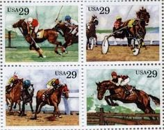 Sporting Horses Full Set of 4 x 29 cent US Postage Stamp Scot #2756-59 . $5.69…