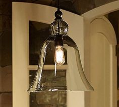 Rustic Glass Indoor/Outdoor Pendant - Large #potterybarn