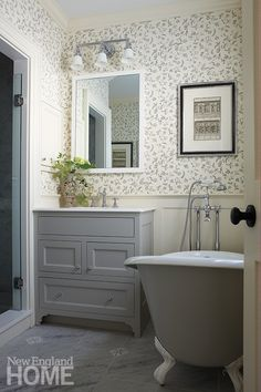 Space was maximized by adding a slipper tub to a small master bath.