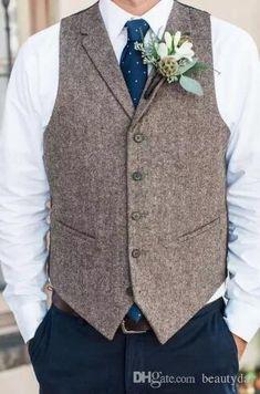 Vests Fashion Brown Tweed Vests Wool Herringbone British Style Custom Made Mens Suit Tailor Slim Fit Waistcoat W5 In Short Supply