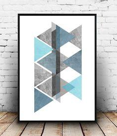 Azul arte geométrico de la pared, arte imprimible, azul triángulo Print, Print geométrico, arte escandinavo, arte geométrico, decoración de la pared, decoración del hogar