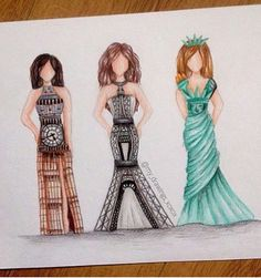 Wow they are wearing famous buildings as dresses!