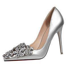 OALEEN Escarpins Vernis Femme Elégante Strass Fleur Bout Pointu Mariage  Soirée Chaussures Talon Haut Aiguille  21aa0fd94494