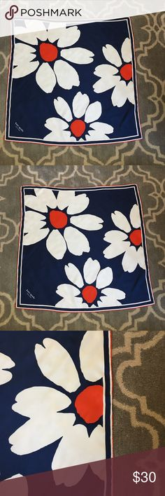 """Kate Spade 28"""" square scarf Blue, white, and orange floral print scarf by Kate Spade. 28"""" square. One tiny spot (close up photo included). Very fun and versatile! kate spade Accessories Scarves & Wraps"""