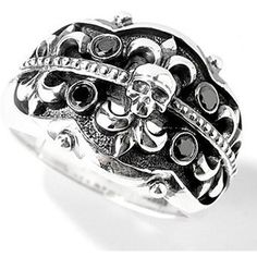 Gorgeous sterling fleur de lis gothic cigar band ring with black diamonds.