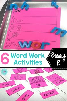 6 hands-on activities to practice spelling patterns for Bossy R. Sort, build, read. Ideal for 1st grade word work stations. Teachers will love the easy set up and students will love the the fun word sorts.