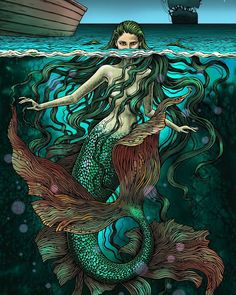 #gelpen #mixedmedia #drawing #draw #digitalart #illustration #mermaid #sea #fishtail #fantasy #creature #fairytail #bubug