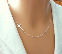 Sterling Silver Sideways Cross Necklace Faith Cross by SaraAndJane, $28.00