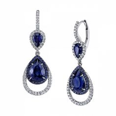 Omi Prive: Sapphire and Diamond Earrings, style EC1570-SAPE