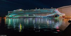Carnival Corporation's AIDA Cruise brand has named its new liner the AIDAnova and a big party to celebrate the occasion was held on Friday night at the Meyer Werft shipyard in Papenburg, Germany. Biggest Cruise Ship, Carnival Corporation, Family Cruise, Marina Bay Sands, Germany, Vacation, World, Building, Places