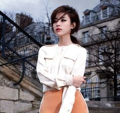 Han Hyo Joo Models Ferragamo for Harper's Bazaar with the romantic backdrop of Paris buildings