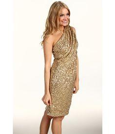 Calvin Klein Sequin One-Shoulder Dress Gold - 66