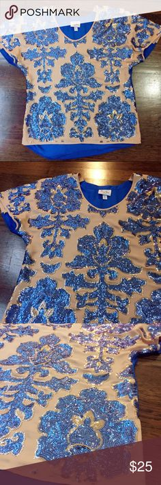 TRACY REESE for Target blue brocade sequin top Beautiful Tracy Reese for Target top. Detailed blue brocade sequin design on front and solid blue back. In great condition. No missing sequins. Tracy Reese Tops Blouses
