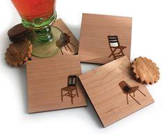 Meados do século moderno Silhuetas Cadeira - Conjunto de 4 porta-copos de madeira