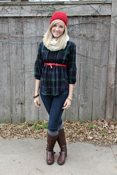 Plaid with red beanie and belt.