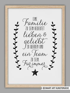 "Typo Kunstdruck ""Familie"" // typo artprint ""family"", wise words by Smart Art Kun. Family Poster, Family Print, Smart Art, Poster Prints, Art Prints, More Than Words, True Words, Family Quotes, Cool Words"