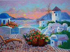 Evening in Santorini Rebecca Beal 18x24 Original oil painting Evening Sunset. Greek Isles,  Santorini, Windmills, Flowers.