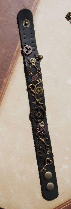 Leather Steampunk Bracelet. $24.00, via Etsy.