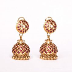 Stud Jhumki with Uncut Diamond & Uncut rubies - A pair of Jhumkas studs set with uncut diamonds & uncut rubies in the traditional south Indian style handcrafted in 22K yellow gold.