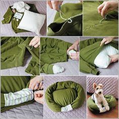 Designer Dog Beds For Large Dogs Diy With Old Clothes, Recycle Old Clothes, Designer Dog Beds, Diy Dog Bed, Recycled Sweaters, Cat Furniture, Pet Beds, Dog Houses, Diy Stuffed Animals