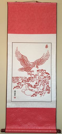 Chinese traditional handmade paper cutting hanging picture/ Eagal on the pine by 123hand on Etsy