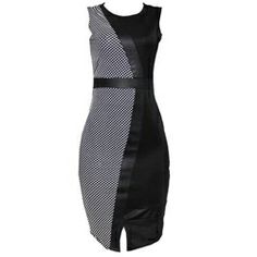 Innocent Black/White Dotted Armless Bodycon Dress