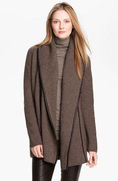 Vince Leather Trim Coat