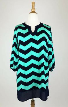 Mint and Navy Tunic Dress - #blondellamydean #plussizefashion #plussize #curves