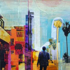 """Martyn Walking In Venice  Mixed media collage of digital prints and acrylic paint on wood.   14"""" x 14""""   Available through Heath gallery, Palm Springs. $300.00"""