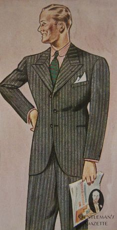 Single Breasted 3 button peak lapel suit in typical 1930s fashion