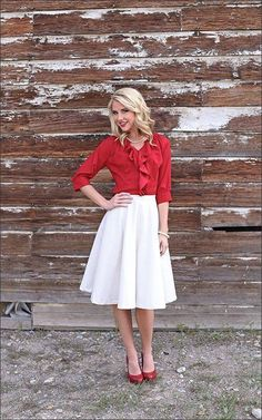 Simple yet Stylish. What would you match these garments with from your wardrobe? 2 Garments that can be worn with other garments in your wardrobe. Red Blouse can be matched with a Black Skirt, Jeans, Beige Trousers White Skirt can be worn with different fabric tops, various colours and different sleeves lengths. ‪#‎DoNotComplicate‬
