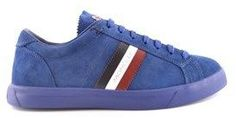 Moncler Men's Blue Suede Sneakers.