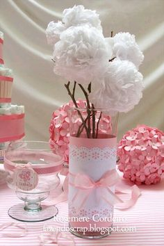 104 Centerpieces for Beautiful and Original Girl Baptism Ballerina Party, Shabby Chic Baby Shower, Ideas Para Fiestas, Fiesta Party, Princess Party, Diy Party, Baby Shower Decorations, Paper Flowers, Party Time