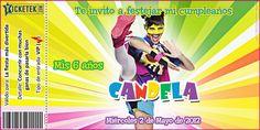 Birthday invitation card. Tarjeta invitación para cumpleaños tipo ticket disponible en www.elsurdelcielo.com/