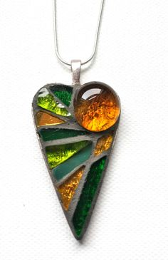 AmberGreen Glass Mosaic pendant heartshaped by creatingtrouble, £20.00